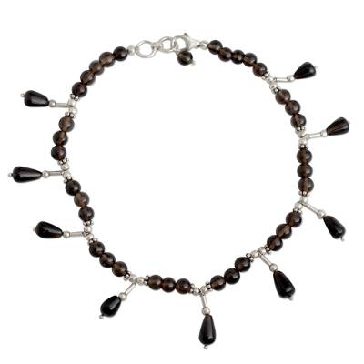 Smoky quartz anklet