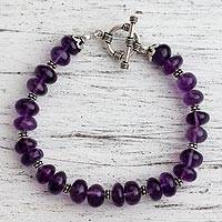 Amethyst beaded bracelet, 'Violet Treasures'