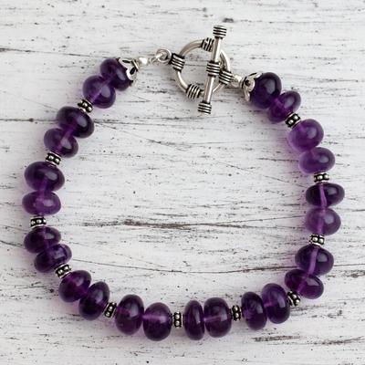 Amethyst beaded bracelet, 'Violet Treasures' - Amethyst beaded bracelet