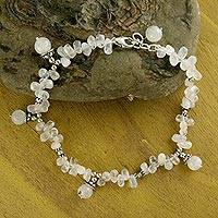 Rainbow moonstone anklet,