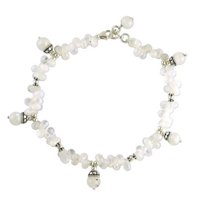 Handmade Rainbow Moonstone Anklet from India