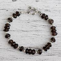 Smoky quartz beaded bracelet, 'Glimmer' - Smoky quartz beaded bracelet