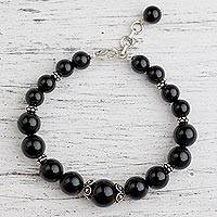 Onyx beaded bracelet, 'Regal Night' - Onyx beaded bracelet