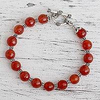 Carnelian beaded bracelet, 'Royal Glow' - Sterling Silver and Carnelian Bracelet