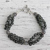 Labradorite and tourmalinated quartz beaded bracelet, 'Murmur' - Labradorite and tourmalinated quartz beaded bracelet