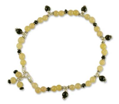 Aventurine and onyx anklet