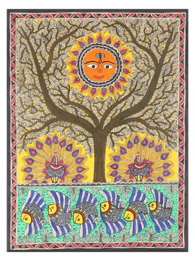 Indian Madhubani Painting - Tree of Life | NOVICA