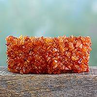 Carnelian stretch bracelet, 'Sunburst'