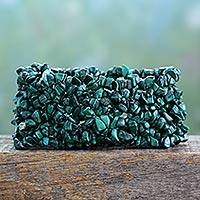 Malachite stretch bracelet, 'Forest Moss'