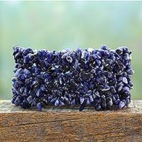 Sodalite stretch bracelet, 'Infinite Blue' - Bohemian Styled Sodalite Stretch Bracelet from India