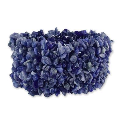 Sodalite stretch bracelet, 'Infinite Blue' - Artisan Crafted Wristband Sodalite Bracelet
