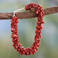 Jasper beaded bracelet, 'Song of Passion' - Red Jasper Bracelet Handmade Beaded Jewelry from India