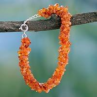 Carnelian beaded bracelet, 'Fiesta' - Hand Made Beaded Jewelry Carnelian Bracelet