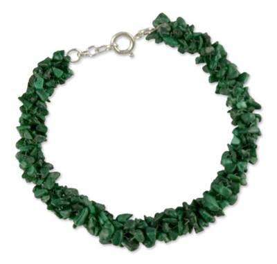 Fair Trade Artisan Crafted Jewelry Malachite Bead Bracelet