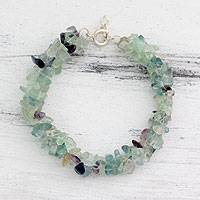 Fluorite beaded bracelet, 'Subtle Allure' - Fluorite Bracelet Artisan Crafted Jewelry from India