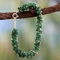 Aventurine beaded bracelet, 'Evergreen' - India Beaded Jewelry Hand Made Bracelet with Aventurine