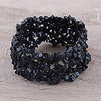 Onyx stretch bracelet, 'Eternal Night' - Artisan Crafted Stretch Onyx Bracelet