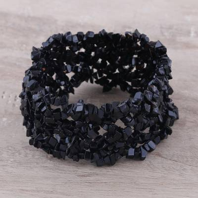 Onyx stretch bracelet, 'Eternal Night' - Artisan Crafted Stretch Onyx Bracelet