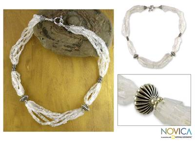 Rainbow moonstone beaded necklace, 'Crystal Morning' - Rainbow Moonstone Beaded Necklace from India