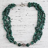 Malachite beaded necklace, 'Natural Sophistication'