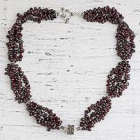 Garnet beaded necklace, 'Regal Red' - Garnet beaded necklace