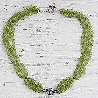 Peridot beaded necklace, 'Natural Sophistication'