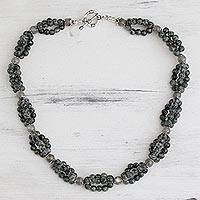 Labradorite beaded necklace, 'Evening Muse'