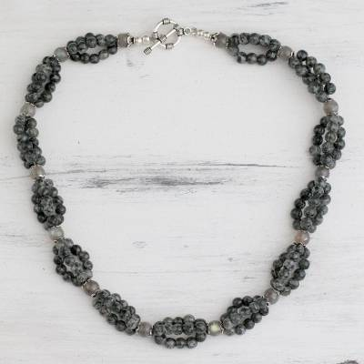 Labradorite beaded necklace, 'Evening Muse' - Labradorite beaded necklace