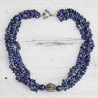 Lapis lazuli beaded necklace, 'Natural Sophistication' - Lapis lazuli beaded necklace