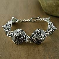 Sterling silver flower bracelet, 'Blossoming Shields' - Sterling silver flower bracelet