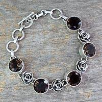 Smoky quartz floral bracelet, 'Rose Aura' - Handcrafted Quartz and Silver Bracelet
