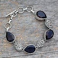 Smoky quartz link bracelet, 'Tears of Joy' - Indian Sterling Silver and Smoky Quartz Bracelet