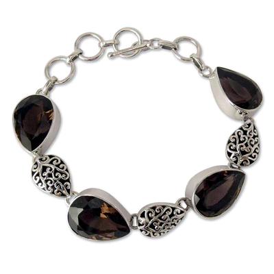 Indian Sterling Silver and Smoky Quartz Bracelet