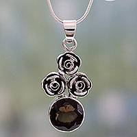 Smoky quartz flower necklace, 'Three Roses' - Smoky quartz flower necklace