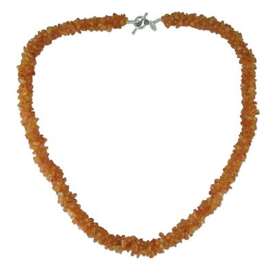 Beaded Carnelian Necklace Artisan Crafted Jewelry