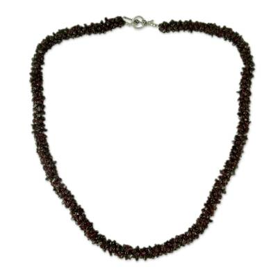 Garnet long beaded necklace, 'Love's Fortunes' - Handmade Garnet Long Strand Beaded Necklace