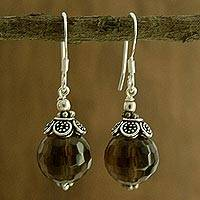 Smoky quartz dangle earrings, 'Jaipur Sonnet'