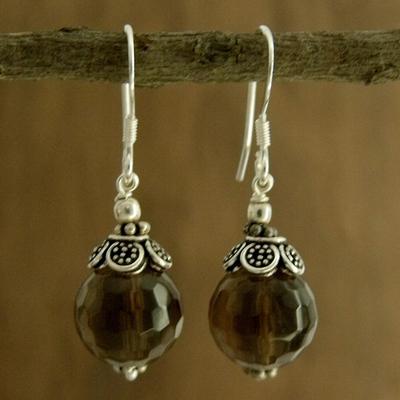 Smoky quartz dangle earrings, 'Jaipur Sonnet' - Smoky quartz dangle earrings