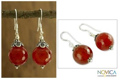 Carnelian dangle earrings, 'Jaipur Sonnet' - Carnelian dangle earrings