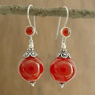 Carnelian dangle earrings, 'Gujurati Ode' - Carnelian dangle earrings