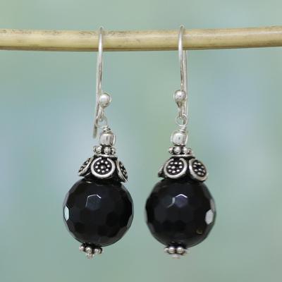 Onyx dangle earrings, 'Jaipur Sonnet' - Onyx dangle earrings