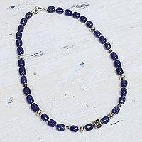 Lapis lazuli beaded necklace, 'India Glamour'