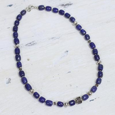 Lapis lazuli beaded necklace, 'India Glamour' - Lapis lazuli beaded necklace