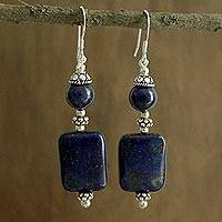 Lapis lazuli dangle earrings, 'Delhi Harmony' - Lapis Lazuli and Sterling Silver Dangle Hook Earrings