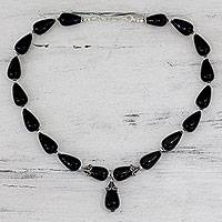 Onyx Y necklace, 'Radiant Black' - Onyx Y necklace