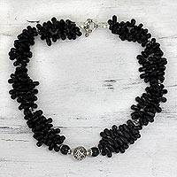 Onyx cluster necklace, 'Radiant Night' - Sterling Silver and Onyx Beaded Necklace