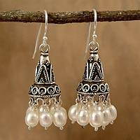 Pearl chandelier earrings, 'Indian Ivory' - Unique Pearl and Sterling Silver Earrings