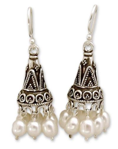 Pearl chandelier earrings, 'Indian Ivory' - Pearl chandelier earrings