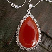 Agate pendant necklace, 'Bright Hope' - Red Agate and Sterling Silver Tear Drop Necklace from India