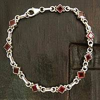 Garnet link bracelet, 'Scarlet Glamour' - Garnet link bracelet